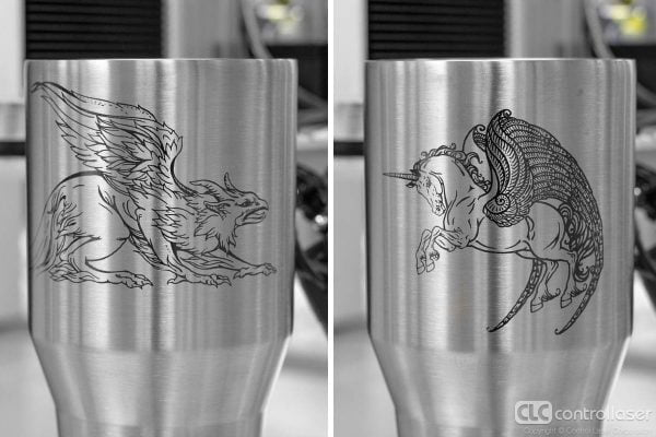 Dark laser marking on stainless steel cups