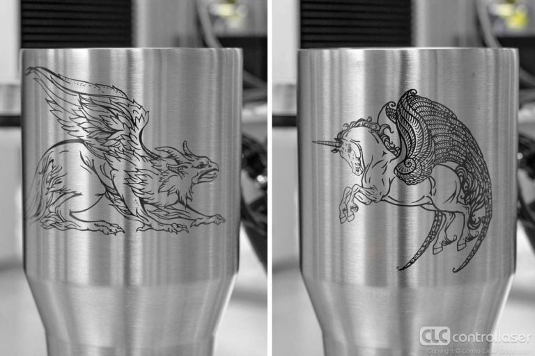 Laser surface marking of cups and tumblers