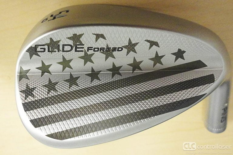Laser marked stars and stripes on golf clubs