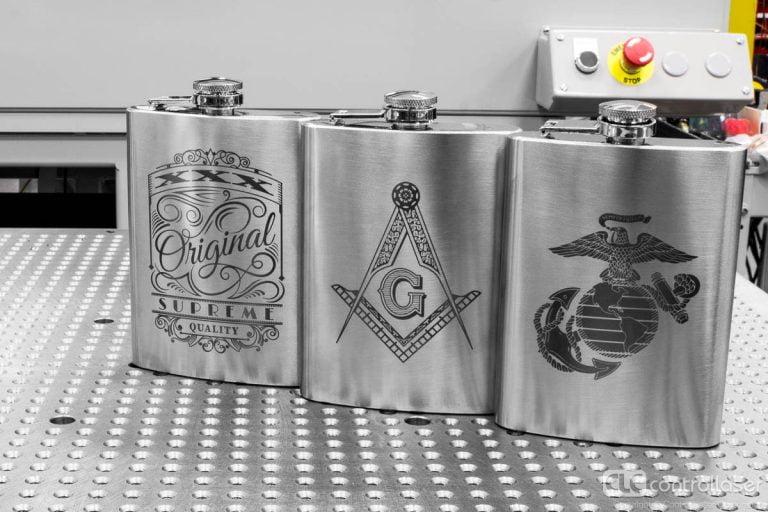 laser marked stainless steel flasks