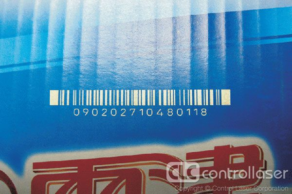 Laser marking barcodes on cardboard product packaging