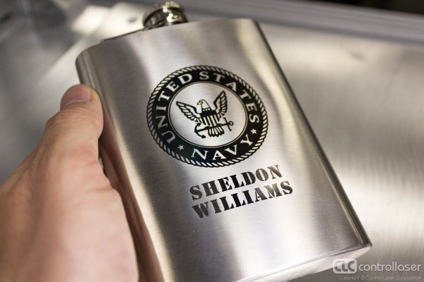 Dark laser marking on stainless steel flasks